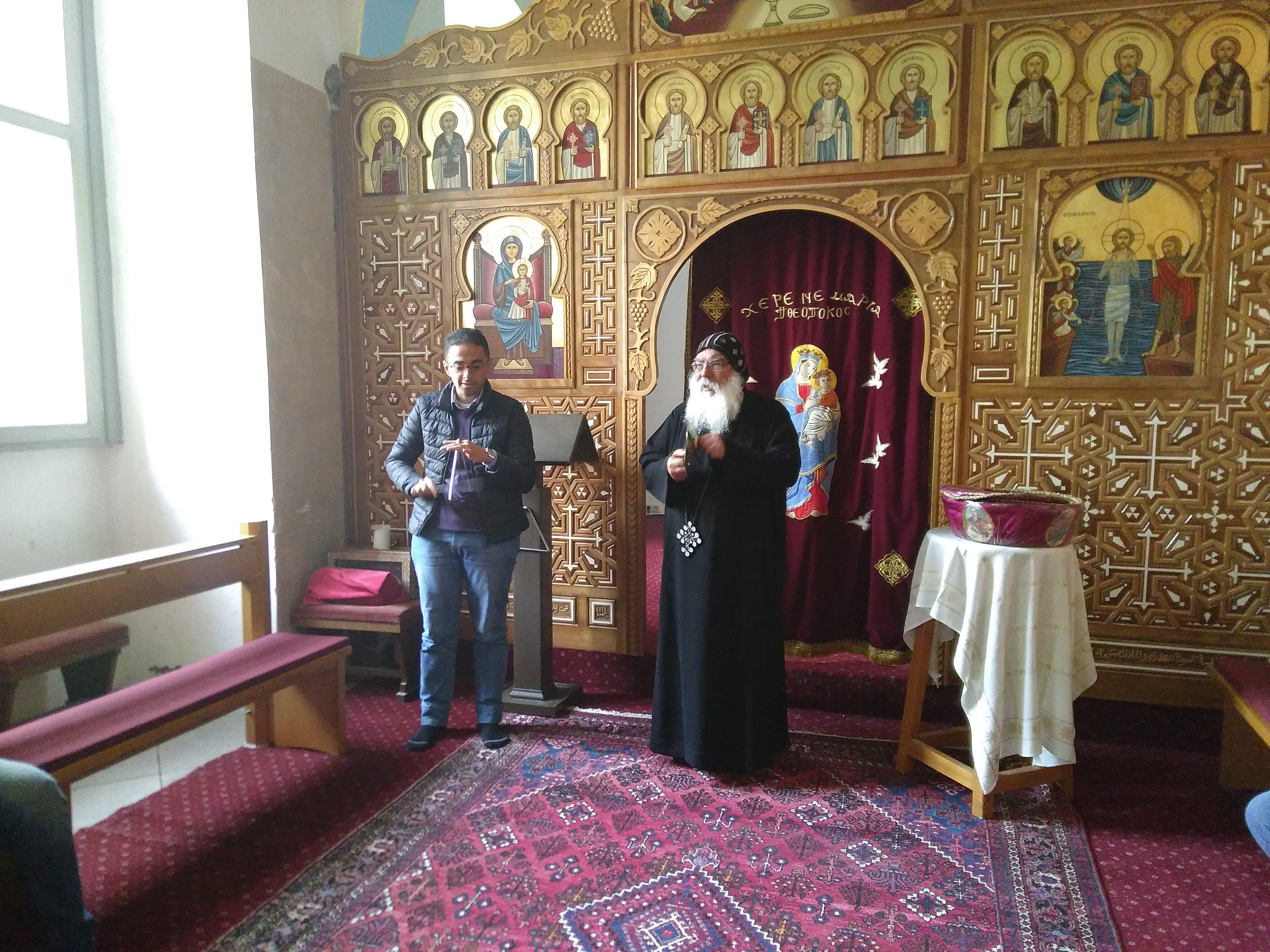 Coptic monastery Brenkhausen: Bishop Anba Damian and our scholar Ramy sing together
