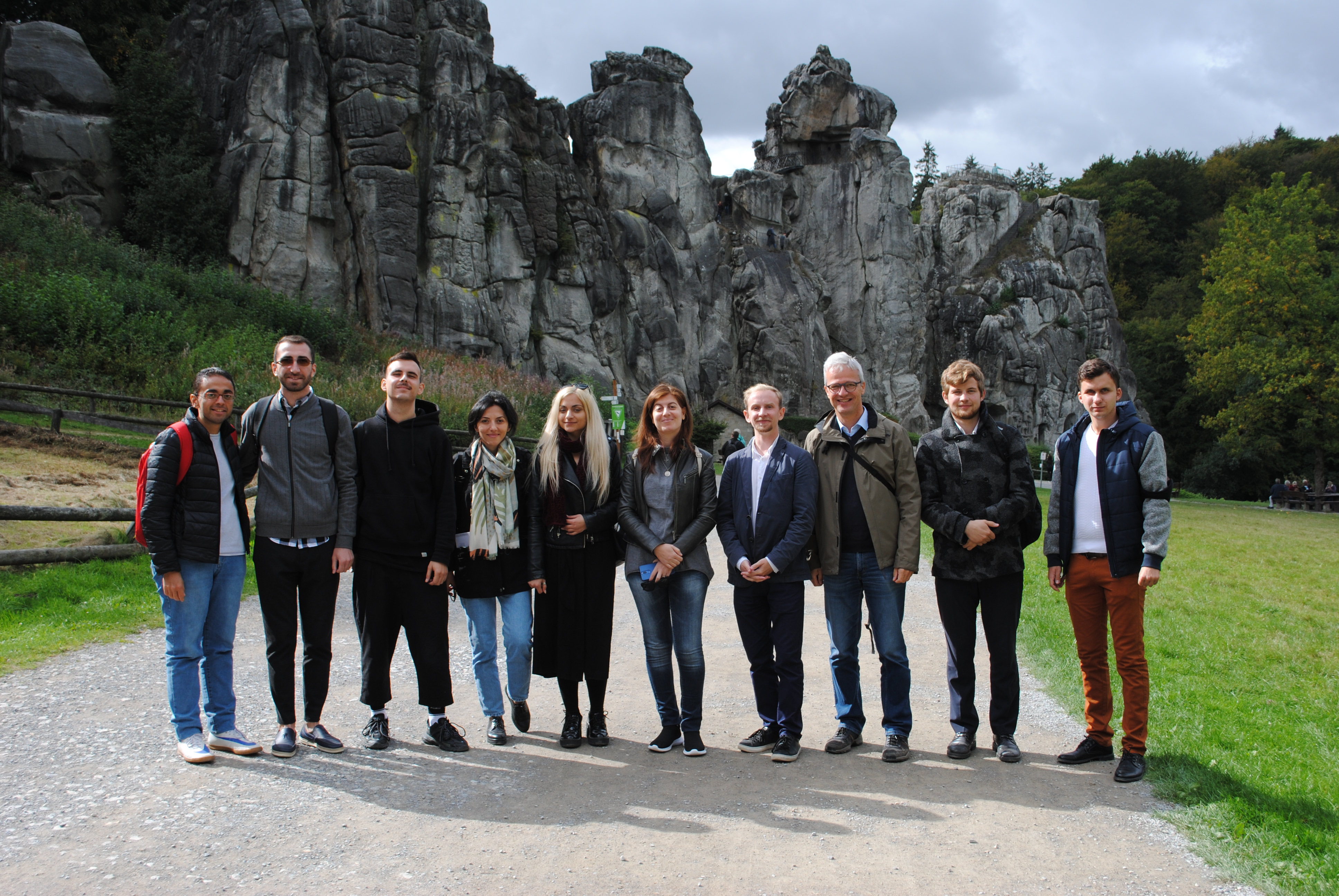 Externsteine: Group picture in front of the rocks